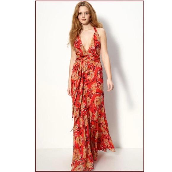 ff07270122ad4 WINTER KATE Floral Maxi Silk Dress Size XS. M_5ae610f800450fccfdadf7c9